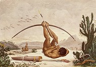 Native archers, 1834, drawing from the Travels in the Interior of Brazil by Jean-Baptiste Debret, Brazil 19th Century.  Rio De Janeiro, Biblioteca Nat...