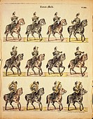 Musical band of German Uhlans on horseback, published by Burckardt of Weissemburg, 19th century