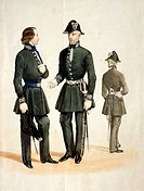 Militaria, Italy, 19th century. Uniform of postal officer of the Kingdom of Sardinia. Watercolor.  Rome, Museo Storico Delle Poste E Telecomunicazioni...