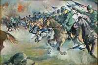 A. Eco, Cavalry Charge. Watercolor.  Pinerolo, Museo Storico Dell'Arma Di Cavalleria (Troops Museum)