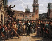 Italy - 19th century, First War of Independence - Daniele Manin demands Austrian surrender of The Venetian Arsenal, 1848. Painted by Vincenzo Giacomel...
