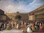 Italy - 18th century - National Festival in Venice in 1797. Painted by Giuseppe Borsato (1770 - 1849). Oil on canvas. 55x86 cm.  Venezia, Museo Del Ri...