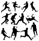 High details vector illustration of soccer silhouettes.