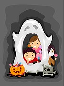 Illustration of Kids Manning a Ghost Booth _ eps8
