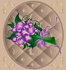 in beige decorative frame bouquet lavender flowers tied with ribbon