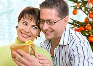 Young lovely couple near a Christmas tree with a gift box