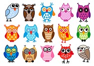 set of colorful owls, vector illustration