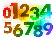 rainbow color numbers on the background _ image contains gradient mesh