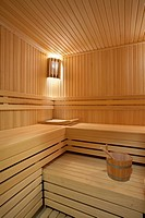 Interior of a hotel sauna, modern wooden design.