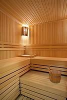 Interior of a hotel sauna, modern wooden design.