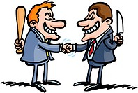 Two business men are shaking hands but they´re hiding something!