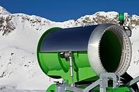 Idle snowgun in skiing region