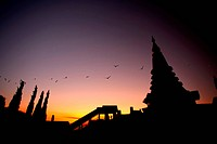 Two pagoda at Doi Inthanon, chiangmai _ Thailand, between sunset time.
