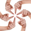 Hand of teamwork on white background