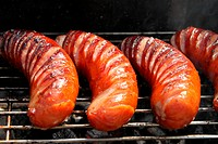 grilled sausages close up, barbecue.