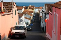 Street in the city of Lagoa  Sao Miguel island, Azores, Portugal