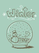 Hand drawn snow globe with snowman and trees and ´Winter´ text.