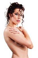 young and naked beautiful woman with curly hair style posing over white