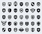 Set of 35 shield icons with various medieval and modern symbols