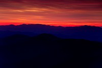 View of a sunset in the Great Smoky Mountain National Park as viewed from the Clingmans Dome Overlook