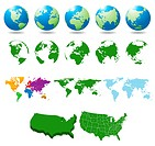 Globe, USA map and dot map kit. Additional format Eps8 very easy editable separate layers
