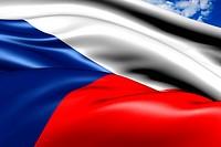 Flag of Czech republic against cloudy sky. Close up.