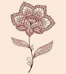 Hand_Drawn Abstract Lace Henna Mehndi Flowers and Paisley Doodle Vector Illustration Design Element