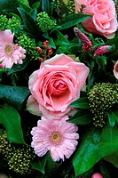 mixed pink floral arrangement with waterdrops