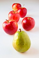 Green pear leading a group of red apples. Concepts: being different, leading by example, healthy choices, good nutrition