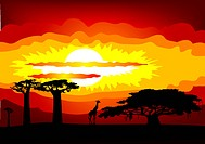 Abstract illustration of the sunset in Africa _ vector. This file contains gradient mesh EPS8. This file is vector, can be scaled to any size without ...