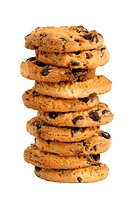 Pile of cookie with chocolate chips isolated on white background