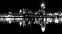 Black and White editorial shot of Cincinnati Ohio at 4am January 15th 2012