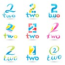 Vector illustration of Icons for number two isolated on white background