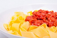 Italian Food _ Pappardelle Pasta With Salsiccia and Tomatoes