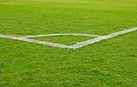 green grass and soccer field corner