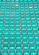 Many Rows of folded plastic seats
