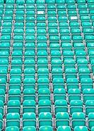 Many Rows of folded plastic seats