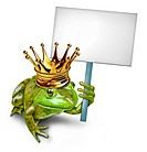 Frog Prince from a fable holding a blank sign by a green happy smiling amphibian with a gold crown holding a white placard for an advertising promotio...