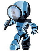 A glossy blue robot looking through a magnifying glass, meant to be a concept in SEO, searching, and detective work.