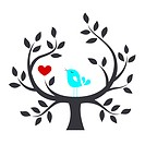 Bird in a tree with love