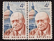UNITED STATES _ CIRCA 1962: Double stamp printed by United states, shows Sam Rayburn, lawmaker and Democratic speaker of the US House of representativ...