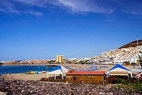 Scenic beach in Los Cristianos, resort town in Tenerife, Canary Islands, Spain