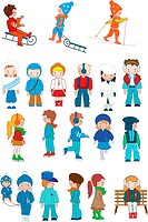 Kids cartoon winter set vector illustration for your design