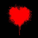 illustration of heart made of grunge on black background