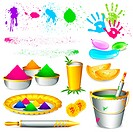 illustration of set of holi element with colors on white background