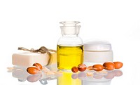 Argan oil used in cosmetic products with argan nuts. Argan nuts come from Morocco