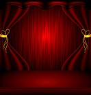 illustration of Red stage curtain with light and shadow. gradient mesh and blur effect used in artwork