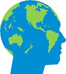 A head has an image of the world globe it in.