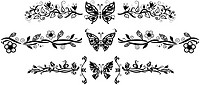 Decorative floral elements with butterflies isolate on white background for your design