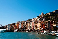 The harbour of Portovenere, Liguria, Italy. Small boats and colourful houses.
